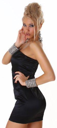 Cocktail-Kleid glänzend mit einem Träger, schwarz Größe 36 38 - 3