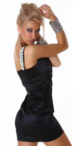 Cocktail-Kleid glänzend mit einem Träger, schwarz Größe 36 38 - 4