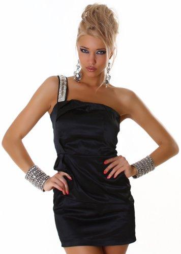 Cocktail-Kleid glänzend mit einem Träger, schwarz Größe 36 38 - 1