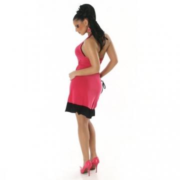 Cocktailkleid Kleid Tanzkleid V-Ausschnitt zweifarbig - Einheitsgröße 34,36,38 - Pink-Schwarz - 2