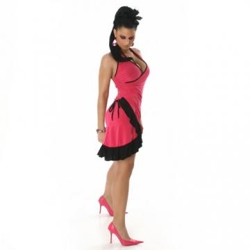 Cocktailkleid Kleid Tanzkleid V-Ausschnitt zweifarbig - Einheitsgröße 34,36,38 - Pink-Schwarz - 3