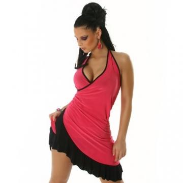 Cocktailkleid Kleid Tanzkleid V-Ausschnitt zweifarbig - Einheitsgröße 34,36,38 - Pink-Schwarz - 1
