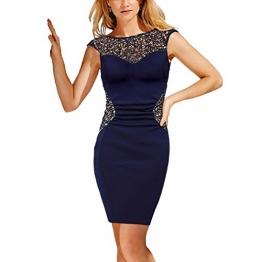 CoCo Fashion Damen Etuikleid Kurzarm Spitzenkleid Bodycon Tunikakleid Pencil Kleider Rundhals Ärmellos (EU34-36) -