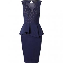 CoCo Fashion Damen Etuikleid Schößchen Cocktailkleid Business Tunika Partykleid Kleid Bodycon Ärmellos (EU 38-40, Marine) -