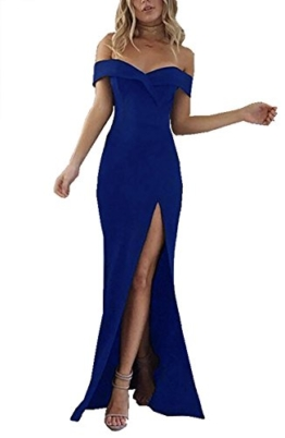 CoCo Fashion Damen Trägerlos Bustier Split Maxikleid Sexy Off Shoulder Langes Abendkleid Party Schulter Kleider, Blau, Gr. XL/40 - 1