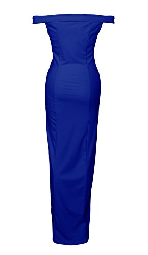 CoCo Fashion Damen Trägerlos Bustier Split Maxikleid Sexy Off Shoulder Langes Abendkleid Party Schulter Kleider, Blau, Gr. XL/40 - 3