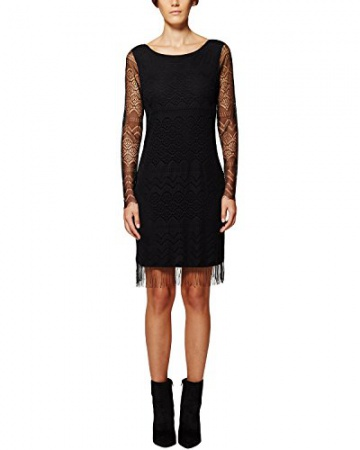 Comma Damen Kleid 81.511.82.3223, Knielang, Gr. 46, Schwarz (black 9999) - 1