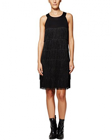 Comma Damen Kleid 89.511.82.3220, Knielang, Gr. 42, Schwarz (black 9999) - 1