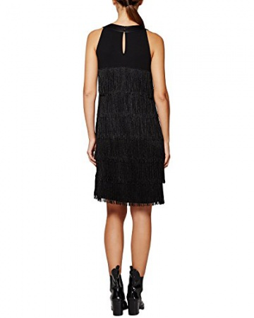 Comma Damen Kleid 89.511.82.3220, Knielang, Gr. 42, Schwarz (black 9999) - 2