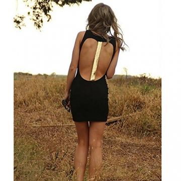 cooshional Clubwear Damen sexy Kleid kurz Partykleid Rückfrei Stretchkleid etuikleid schwarz -
