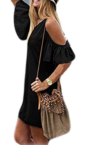 cooshional Damen sommerkleider kurz Schulterfrei Kurzarm Party Clubwear Kleid Partykleid Minikleid Größe M-8XL -