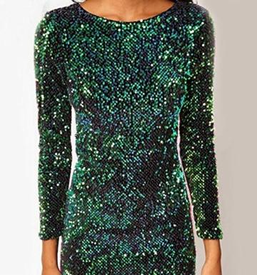 cooshional Mädchen Damen Partykleid Mini Rückenfrei Glamouröses Pailletten Kleid - 3