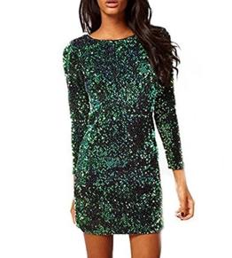 cooshional Mädchen Damen Partykleid Mini Rückenfrei Glamouröses Pailletten Kleid - 1