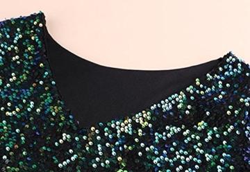 cooshional Mädchen Damen Partykleid Mini Rückenfrei Glamouröses Pailletten Kleid - 6