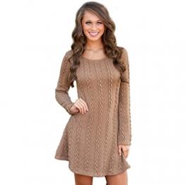 CRAVOG Damen Herbst Winter Kleid Langarm Pullover A-Line Minikleid Dress Casual - 1