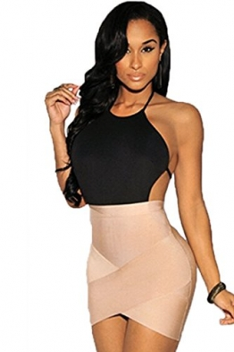 CRAVOG Damen Kleider Bodycon Sexy Backless Asymmetric Etuikleid Minikleid Clubwear Partykleider -