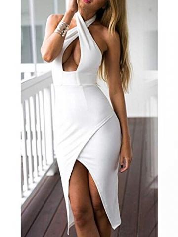 CRAVOG Damen Sexy Kreuz Neckholder Figurbetont Minikleid Clubwear Kleidung -