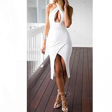 CRAVOG Damen Sexy Kreuz Neckholder Figurbetont Minikleid Clubwear Kleidung EU 34 -