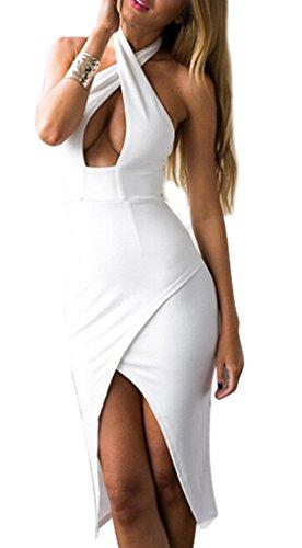 CRAVOG Damen Sexy Kreuz Neckholder Figurbetont Minikleid Clubwear Kleidung, EU 42 -