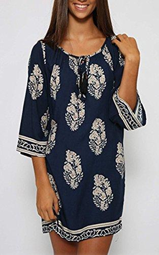 CRAVOG Frauen Sommerkleid Casual Strandkleid Minikleid mit Rundhalsausschnitt 3/4 Sleeve Damen Kleid - 2