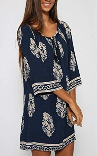 CRAVOG Frauen Sommerkleid Casual Strandkleid Minikleid mit Rundhalsausschnitt 3/4 Sleeve Damen Kleid - 3