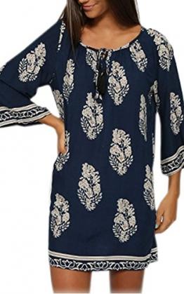 CRAVOG Frauen Sommerkleid Casual Strandkleid Minikleid mit Rundhalsausschnitt 3/4 Sleeve Damen Kleid - 1