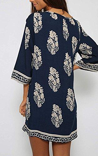 CRAVOG Frauen Sommerkleid Casual Strandkleid Minikleid mit Rundhalsausschnitt 3/4 Sleeve Damen Kleid - 4