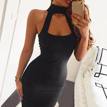 CRAVOG Sexy Damen Neckholder Abendkleid Minikleid Cocktailkleid Clubwear Bodycon Kleid -