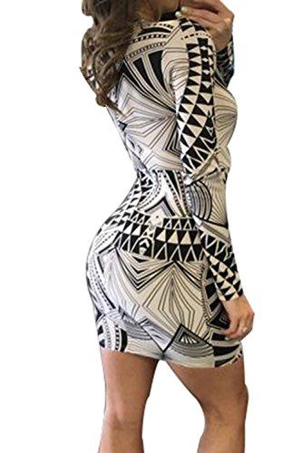 Creti Damen Deep V-Neck Bodycon Printing Stretch One Piece Party Kleid -