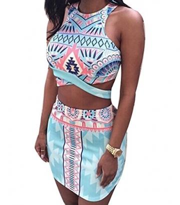 Dame Bodycon Druckt Crop Tops Und Rock Clubwear Party Kleid 2 Stücke Set - 1