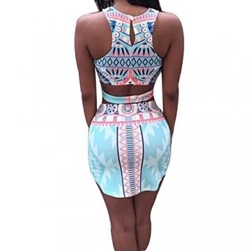 Dame Bodycon Druckt Crop Tops Und Rock Clubwear Party Kleid 2 Stücke Set - 2