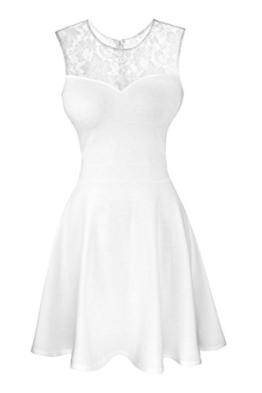 Damen ärmellos Rundausschnitt Falten A-Linie Partykleid Mini Cocktailkleid kurz Festliche Kleid (L, Weiß mit Spitze) - 1