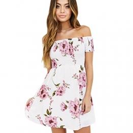 Damen Aus Schulter Minikleid, LILICAT Mode Frauen Blumen Strand Beiläufig Abend Party Kleid (Rosa, M) -