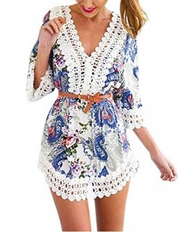 Damen Boho Kimono Sommerkleid Strandkleid Frauen V-Ausschnitt 3/4 Ärmel Hohle Spitze Stitching kurzes Kleid Geometrie Printed Lose Bluse Minikleid -