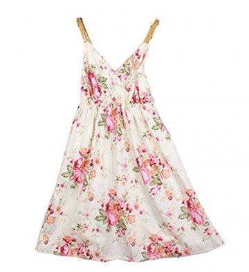 Damen Boho Strandkleid mit Spaghetti-Träger geblümt Sommerkleid Minikleid Urlaub kurz Kleid (Muster 05) -