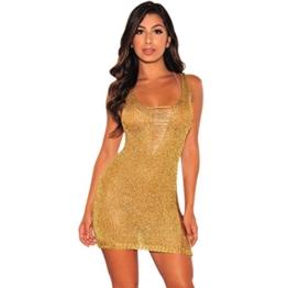 Damen Cocktailkleid Rosennie Frauen Sexy Bodycon Camouflage Gaze Durchsichtig Sheer Dress Abendkleid Womens ärmellosen Goldperspektiven Minikleid Kittel Mode Pailletten Partykleid (S, Gold) - 1