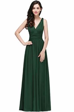 Damen Elegant Brautjungfernkleid Chiffon-Kleid mit V-Ausschnitt lang dunkel Grün 38 - 1
