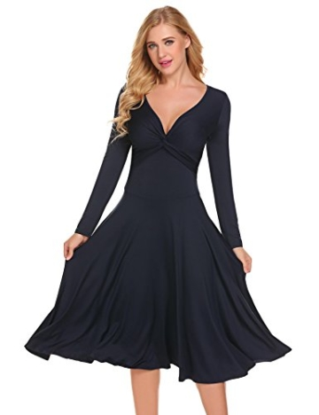 Damen Elegant Shirtkleid Langarm Maxikleid V-Ausschnitt Partykleider Abendkleid Festlich Swing Wickelkleid Wadenlang - 2