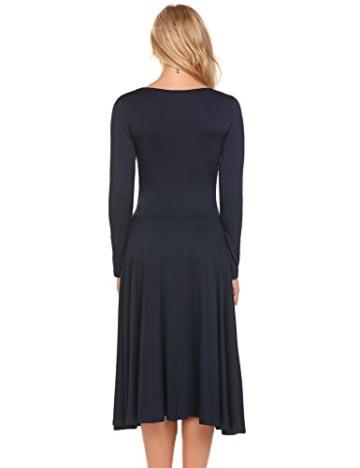 Damen Elegant Shirtkleid Langarm Maxikleid V-Ausschnitt Partykleider Abendkleid Festlich Swing Wickelkleid Wadenlang - 3