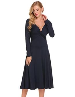 Damen Elegant Shirtkleid Langarm Maxikleid V-Ausschnitt Partykleider Abendkleid Festlich Swing Wickelkleid Wadenlang - 1