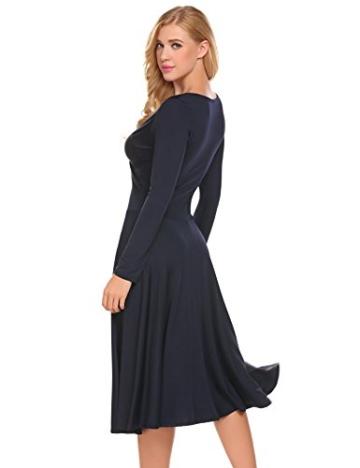 Damen Elegant Shirtkleid Langarm Maxikleid V-Ausschnitt Partykleider Abendkleid Festlich Swing Wickelkleid Wadenlang - 4