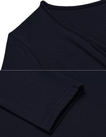 Damen Elegant Shirtkleid Langarm Maxikleid V-Ausschnitt Partykleider Abendkleid Festlich Swing Wickelkleid Wadenlang - 5