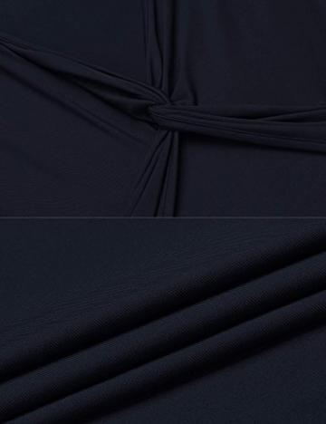 Damen Elegant Shirtkleid Langarm Maxikleid V-Ausschnitt Partykleider Abendkleid Festlich Swing Wickelkleid Wadenlang - 6