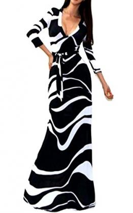 Damen Empirekleider V-Ausschnitt Frühjahr Sommer Frauen Maxikleider Cocktailkleid Maxikleid Strand Elegante Dreiviertelarm Floral Gestreift -