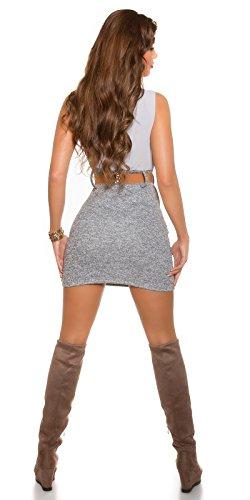 Damen Etui Minkleid Mit Gürtel One Size 34 36 38 GRAU Partykleid Abendkleid - 2