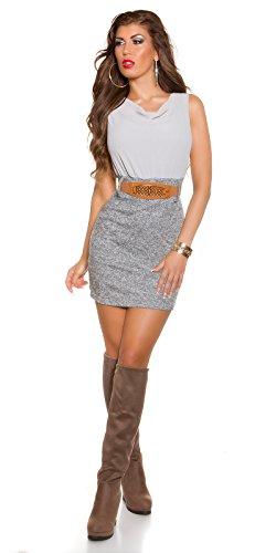 Damen Etui Minkleid Mit Gürtel One Size 34 36 38 GRAU Partykleid Abendkleid - 3
