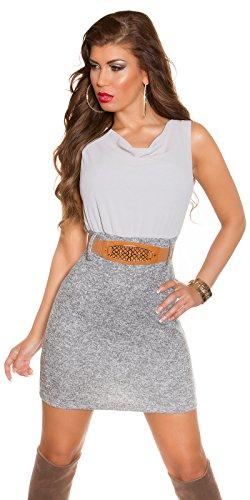 Damen Etui Minkleid Mit Gürtel One Size 34 36 38 GRAU Partykleid Abendkleid - 1
