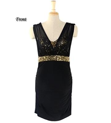 Damen Etuikleid Abendkleid kurz, ZEARO V Ausschnit Sexy Rückenfrei Paket Hüfte Kleid, Schwarz L - 5