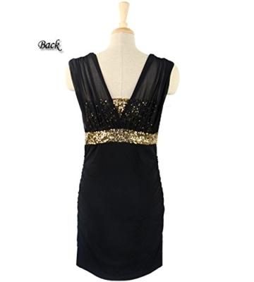 Damen Etuikleid Abendkleid kurz, ZEARO V Ausschnit Sexy Rückenfrei Paket Hüfte Kleid, Schwarz L - 6