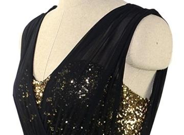 Damen Etuikleid Abendkleid kurz, ZEARO V Ausschnit Sexy Rückenfrei Paket Hüfte Kleid, Schwarz L - 7